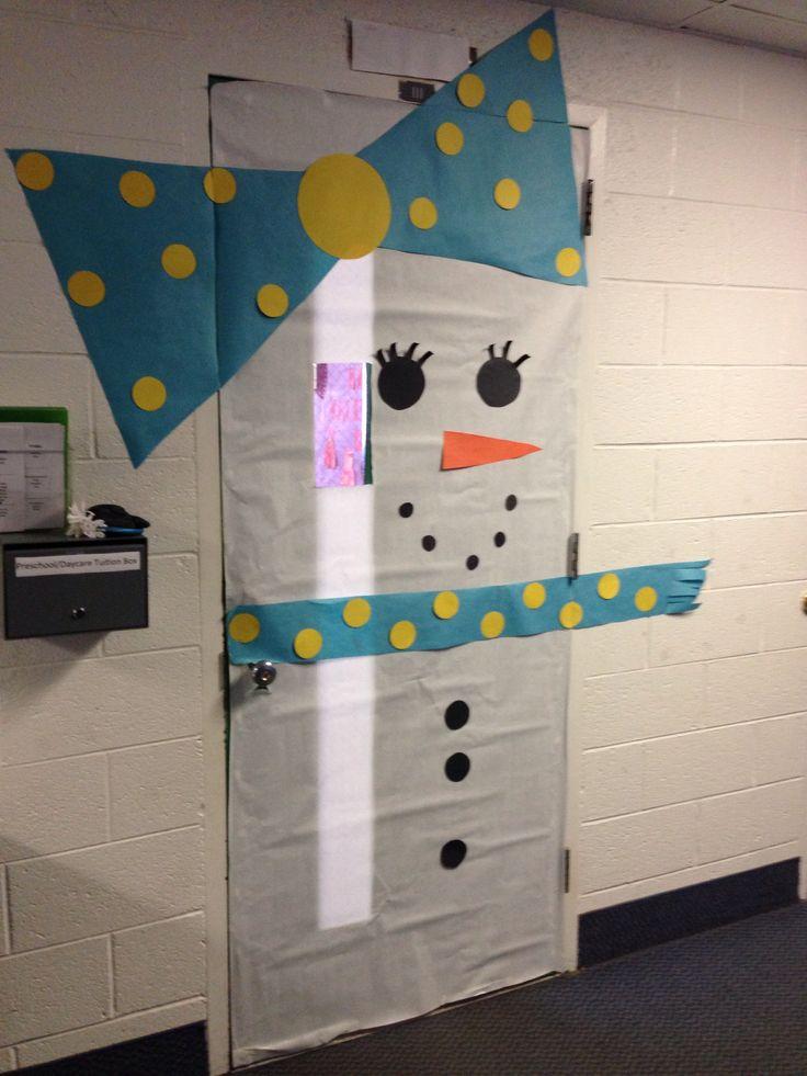 Girl snowman door decoration school decorating ideas for Snowman design ideas