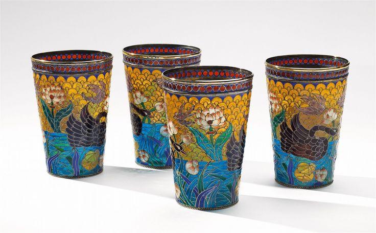 Pavel Akimov Ovchinnikov, Marks of Pawel Akimow Owtschinnikow, 1896 - 1908.An important set of four Moscow vermeil-mounted beakers, Auction 1066 Decorative Arts, Lot 1081 #lempertz #silver #artdeco #art #artauction #cologne