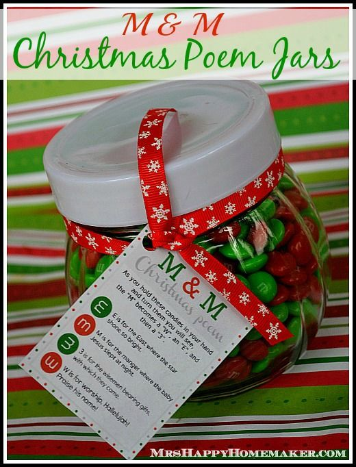 M & M Christmas Poem Jars - what an adorable handmade Christmas gift idea! I just love how the m&m candies tell the true story of Christmas! I adore homemade gifts!