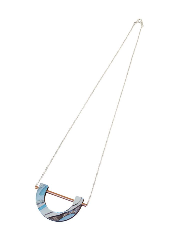 Marble U Necklace in Pastel Blue by Wolf & Moon