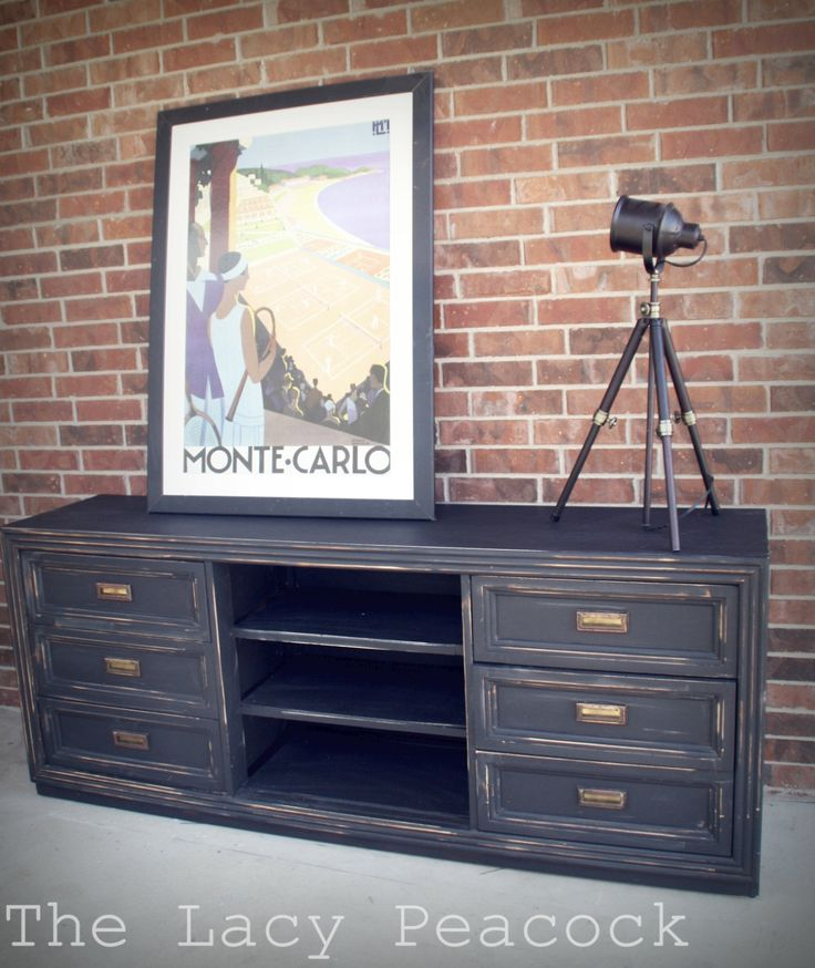 Industrial Style Restoration Hardware Inspired Black Dresser / Entertainment Center / Tv Console $450.00, via Etsy.