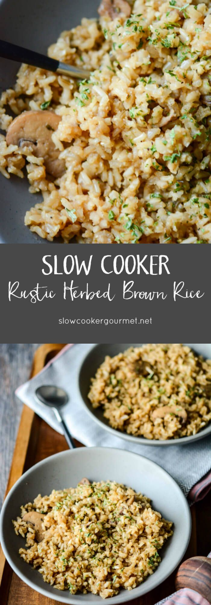 Slow Cooker Rustic Herbed Rice INGREDIENTS 2 cups medium to long grain brown rice 2 tablespoons butter 8 oz frozen sliced mushrooms (or fresh if preferred) 4 cups beef broth ½ teaspoon dried thyme ½ teaspoon dried oregano salt and pepper to taste Dried or fresh parsley for garnish, optional