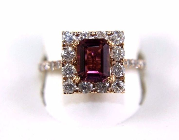 This a Fine Square Emerald Cut Pink Tourmaline Gemstone & Diamond Fashion Ring. It has a CTW of 2.07Ct and weighs 4.0 grams. The fancy diamonds have a clarity of SI2 and G color. This beautiful custom piece has an excellent round cut pink tourmaline stone, surrounded by a diamond halo with accents along the band. | eBay!