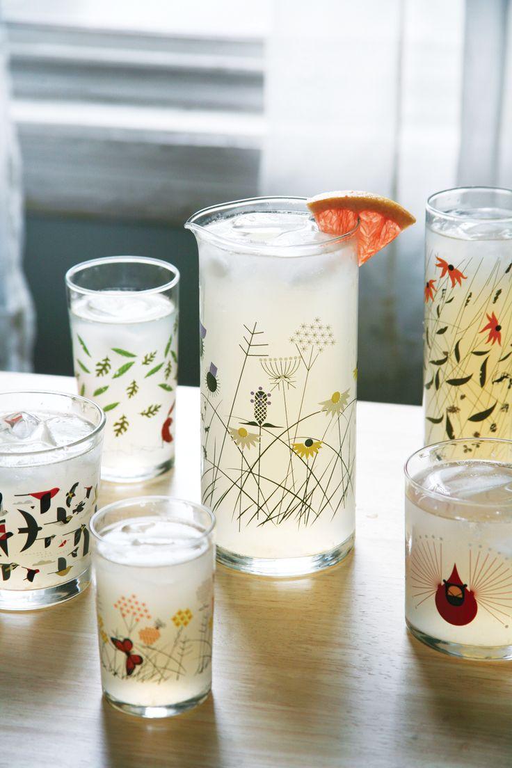 Mid century modern Charley Harper glassware is pitcher perfect!