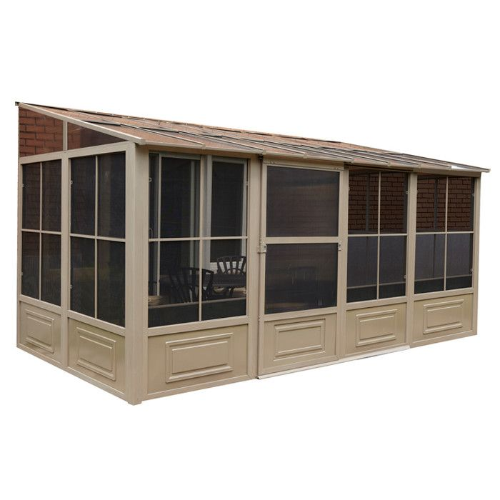 Features:  -Doors can be set up in any position, opening to the right or left.  -Easily removable and replaceable screens.  -Constructed of aluminum.  -Has 3 sides and needs to be pushed up to the wal