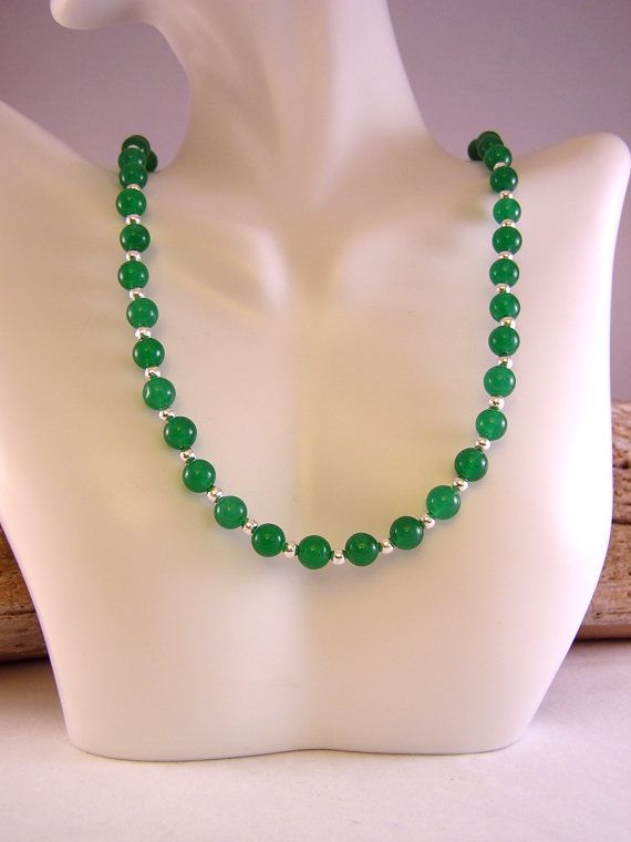 Jade Necklace, Stone Bead Necklace, Bead Necklace Jade, Dyed Jade, Necklace Jade, Bead Necklace Women, Gift for Her, Jade Jewelry