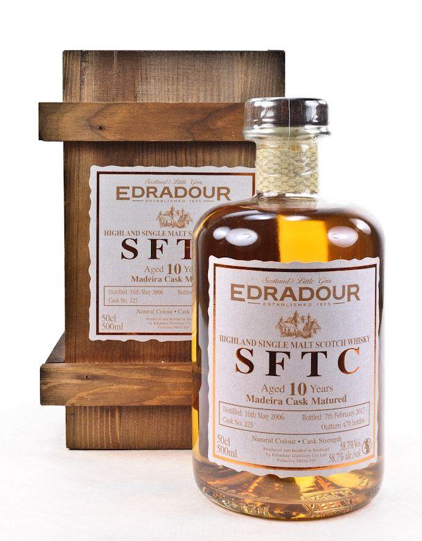 Edradour Whisky SFTC 10 y.o. Madeira Cask  Region : Highlands nur eine Flasche 58,7 % alc./vol. 0,5l nicht kühlgefiltert ohne Farbstoff Distilled : 2006 Bottled : 2017 Abgefüllt : 470 Flaschen