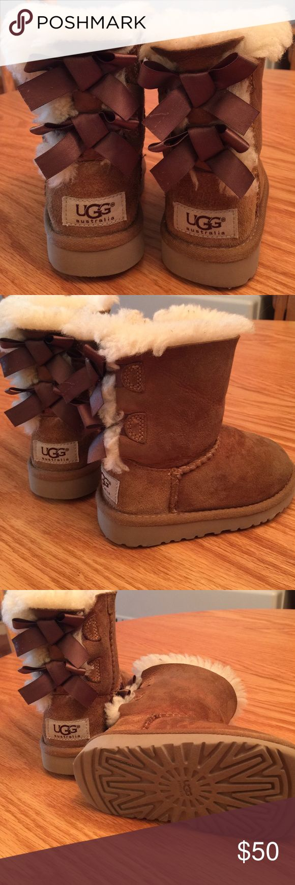 Little girls Toddler size 8 ugg boots Brown boots with faux fur and bailey bows on back UGG Shoes Rain & Snow Boots