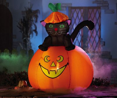 casper the black cat on happy pumpkin lighted inflatable halloween outdoor decor - Outdoor Inflatable Halloween Decorations