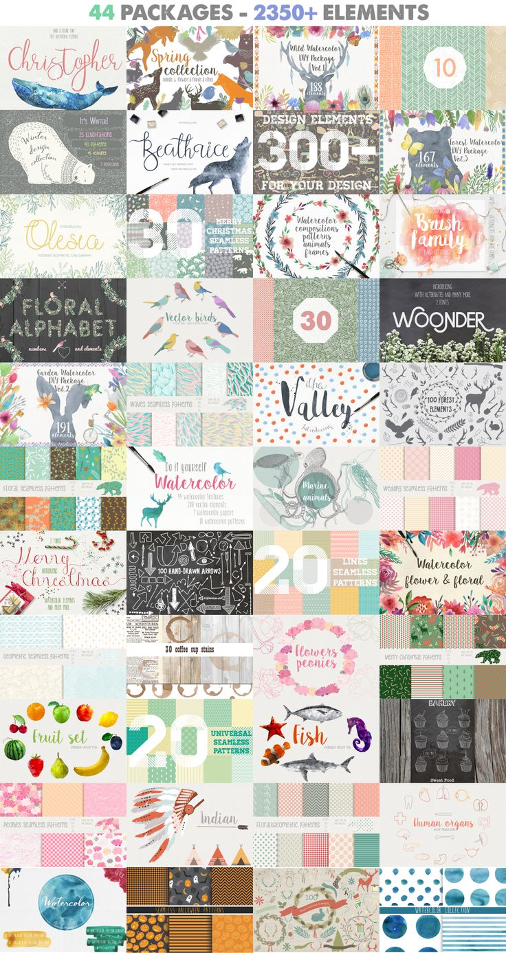 2350+ Graphic Design Elements by Julia Dreams on @creativemarket