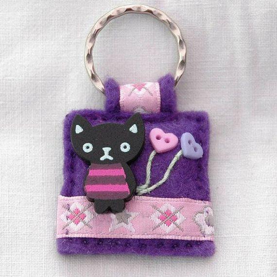 Black cat keyring Kawaii kitten zipper by elliestreasuresuk, £7.00