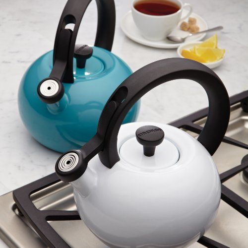 Generous 2-quart steel teakettle capacity heats up to 8 cups of water Solid stylish teakettle handle with one-touch spout lever for easy and comfortable operation The bright enamel exterior is stain resistant and easy to clean; stainless steel lid fits tightly The convenient teakettle whistling feature signals when water is at a boil Lifetime Limited Warranty