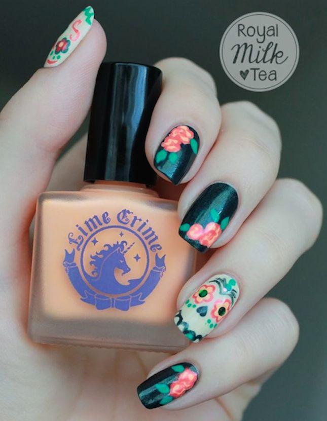 20 Manicures Inspired by Dia de los Muertos   Brit + Co