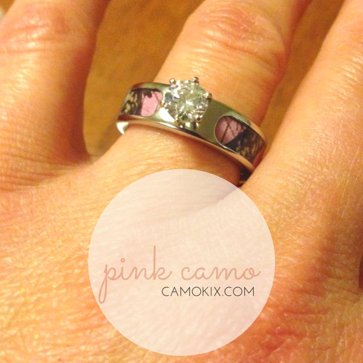 a pink camo engagement ring with round cut cz diamond colored stone from camokixcom - Orange Camo Wedding Rings