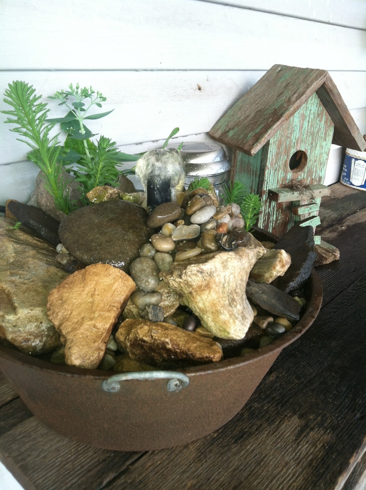 59 best images about water fountains on pinterest for Build outdoor rock water fountains