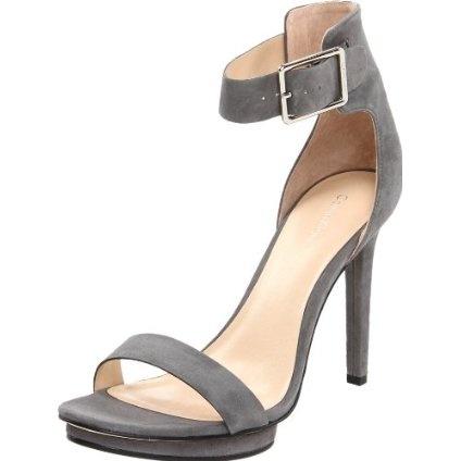 Calvin Klein Women`s Vivian Suede Platform Sandal,Dark Grey,9 M US $119.00