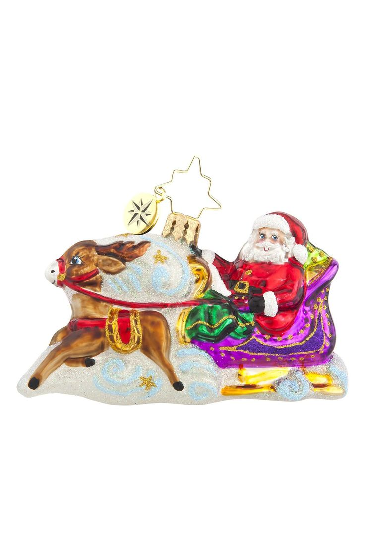 Santa sleigh ornament - Christopher Radko Magic Journey Santa S Sleigh Ornament