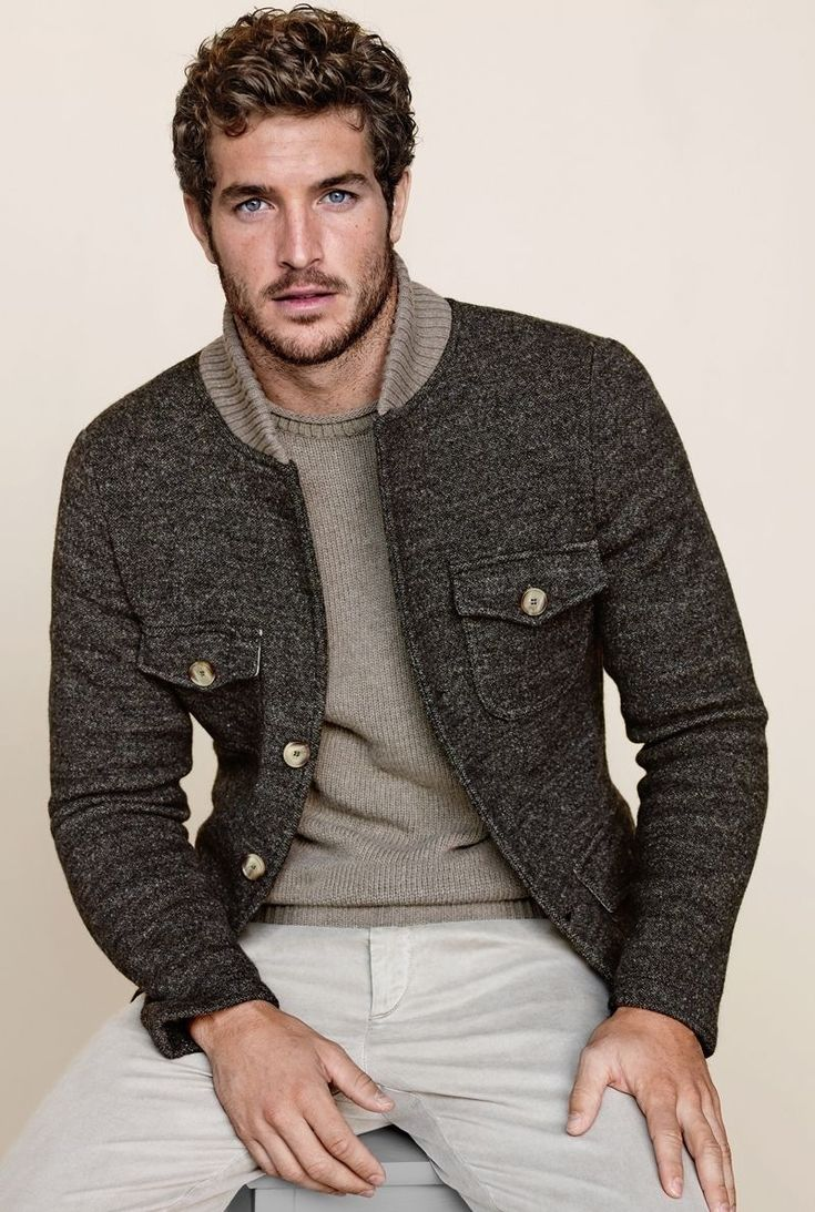 Men's Charcoal Wool Bomber Jacket, Grey Crew-neck Sweater, Beige Chinos