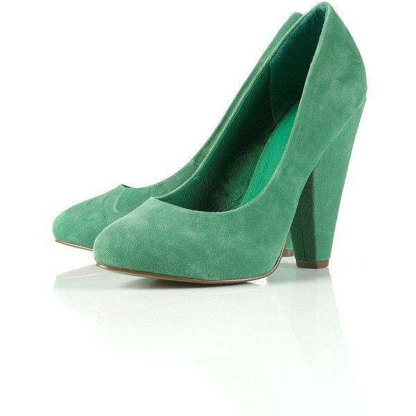 Gorgeous Green Suede Almond Toe Court Shoes ($110) ❤ liked on Polyvore
