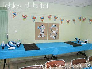 Fête d'anniversaire 18 ans,bleue et noire pour 32 personnes. BILAN (décoration, apéritif, buffet salé, buffet sucré, animations)