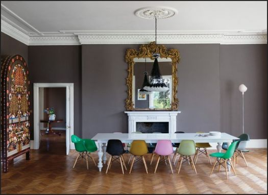 colorful Eames Chairs against gorgeous grey walls