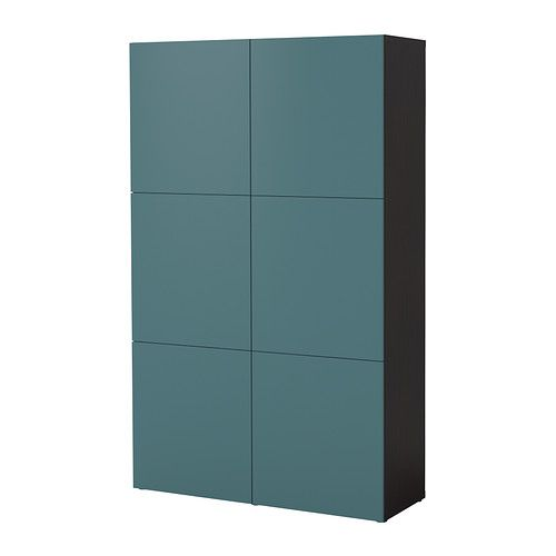 BESTÅ Storage combination with doors - black-brown/gray-turquoise  - IKEA