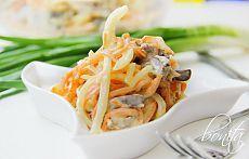 бесподобный салат с куриными сердечками и морковкой