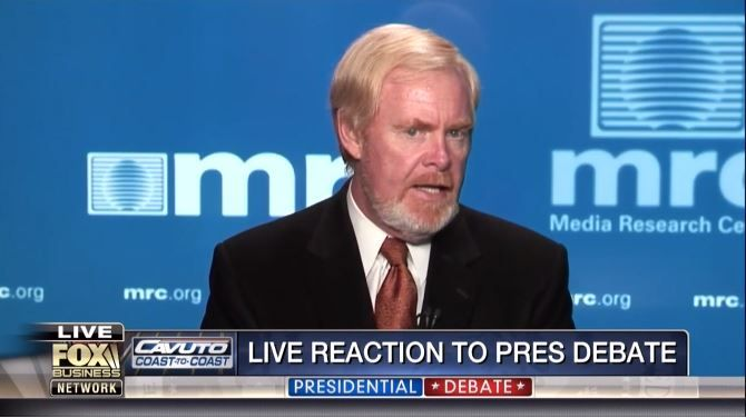 """After issuing a statement late Monday night blasting Lester Holt's job as presidential debate moderator, Media Research Center president Brent Bozell joined the Fox Business Network's late-night coverage and urged Donald Trump to """"raise hell"""" over Holt """"pitch[ing] softballs to Hillary Clinton all night long."""""""