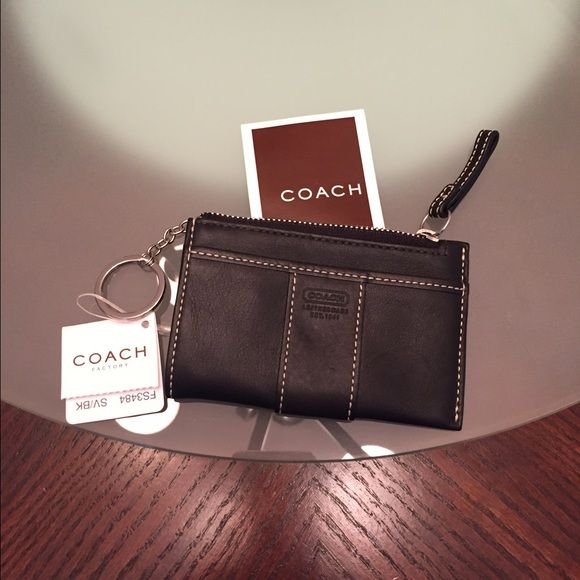 NWT COACH Mini Skinny Wallet w/Keyring Black Lthr. NWT COACH Mini Skinny Wallet Black Leather Grain with Keyring and Coach signature lining in camel. Paperwork included Coach Bags Wallets