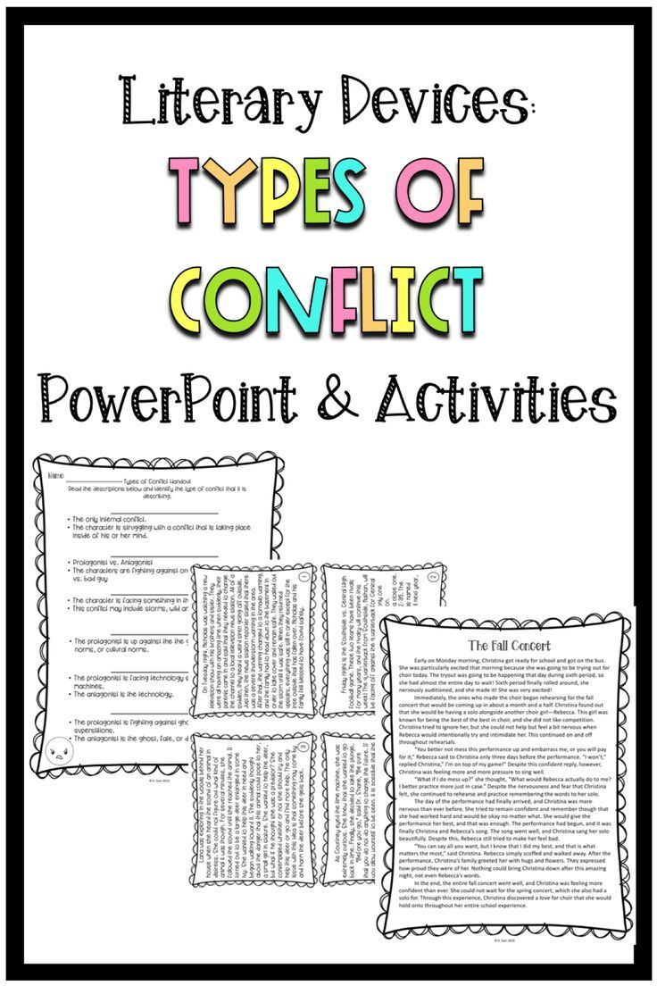 Middle School Types of Conflict Lesson and Activities   Types of conflict [ 1104 x 736 Pixel ]