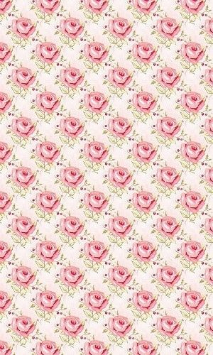 pink roses in diamond pattern.