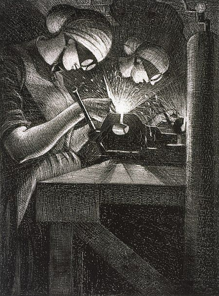C.R.W Nevinson Building Aircraft: Acetylene Welder (from the series 'The Great War: Britain's Efforts and Ideals') Dated 1917 (published 1918)