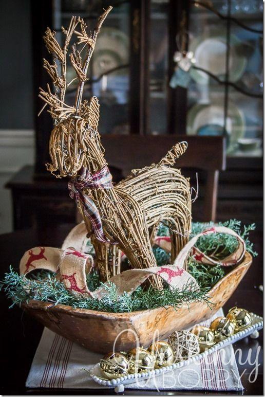 Dough Bowl and Reindeer Centerpiece