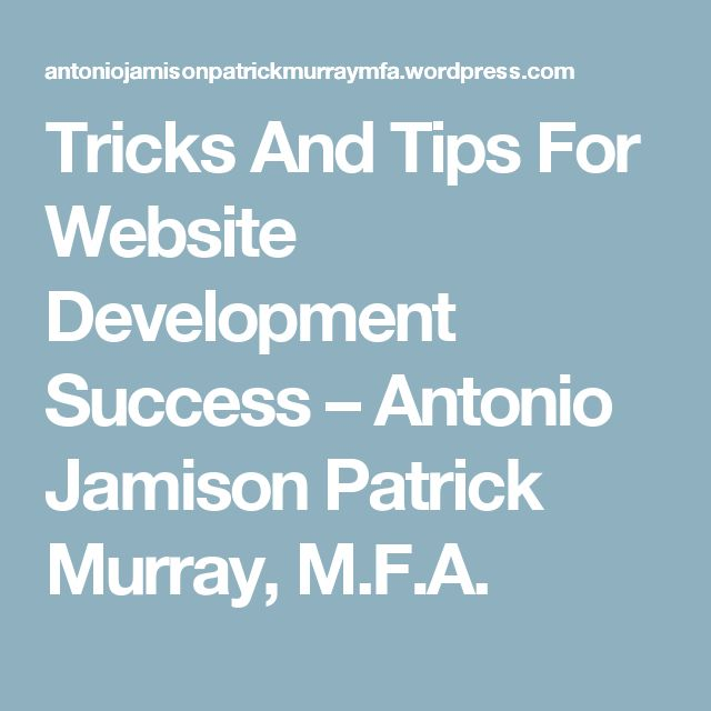 Tricks And Tips For Website Development Success – Antonio Jamison Patrick Murray, M.F.A.