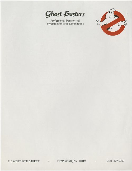 Promotional letterhead produced in 1984 to coincide with the release of Ghostbusters. @Darren Curtis