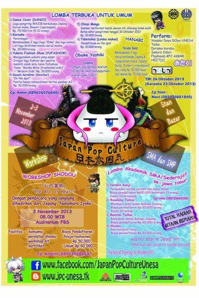 Japan Pop Culture 2 – 3 November 2013 At FBS (Fakultas Bahasa dan Seni) Unesa Lidah Wetan  http://eventsurabaya.net/japan-pop-culture/