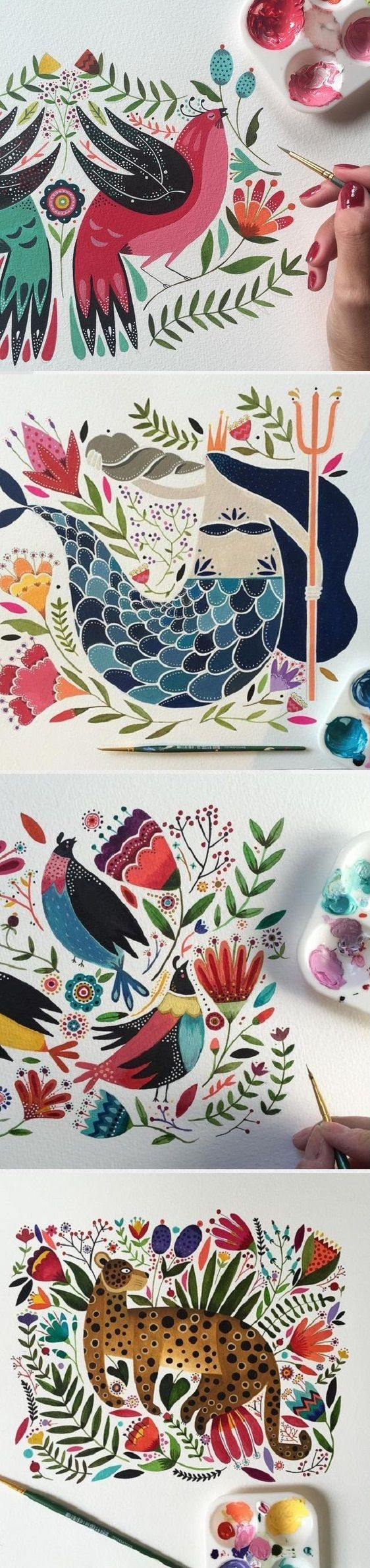 So many beautiful colors and details in the work of Maya Hanisch, on the blog!