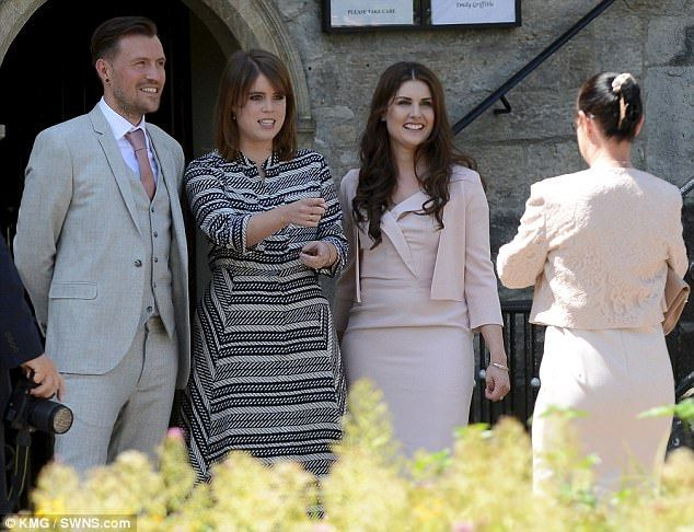 Special guest: Newylweds Ben, left, and Emily Shaw, right, with Princess Eugenie on Friday