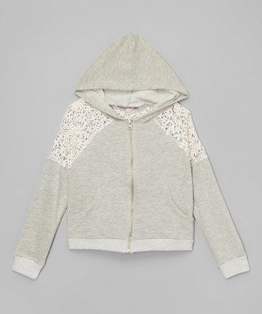 Loving this Gray Crochet Zip-Up Hoodie on #zulily! #zulilyfinds