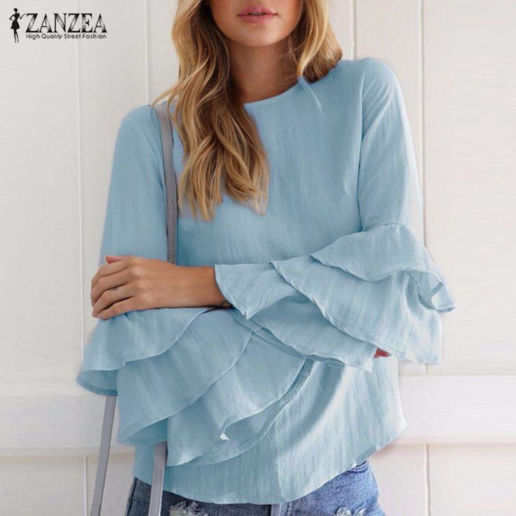 De gran tamaño 2017 zanzea mujeres blusas elegantes camisas ladies o cuello del volante de manga larga sólido blusas tops casual suéteres sueltos