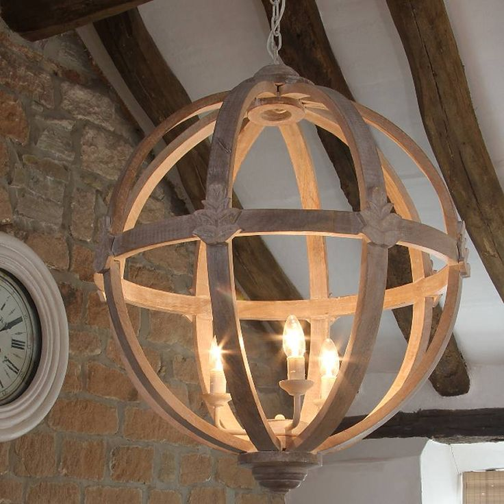 large round wood chandelier by cowshed interiors | notonthehighstreet.com - Stunning modern wooden chandelier for Fold House dining area