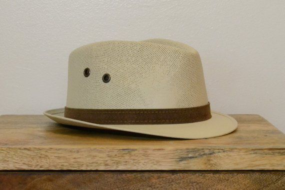 f4da051559e Vintage Straw Fedora with Leather Detailing   Enper Hats Mexico   Vintage  Unisex Hat