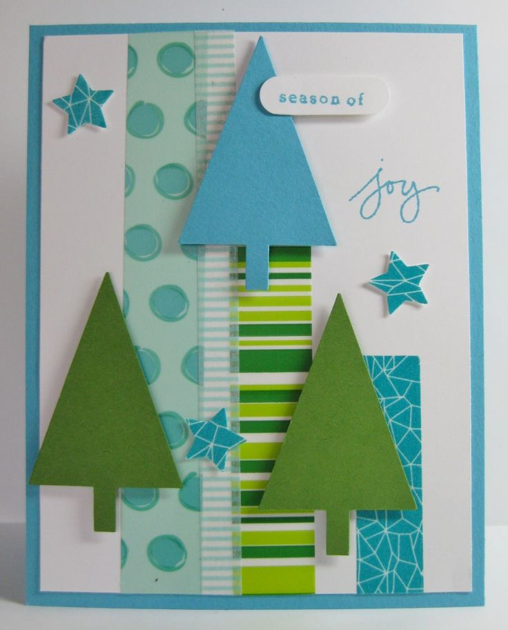 Washi Tape & Punched Trees Card - SU - Endless Wishes, Festival of Trees - Tags for You - *note - washi tape is not from SU - (by Barb Mann)