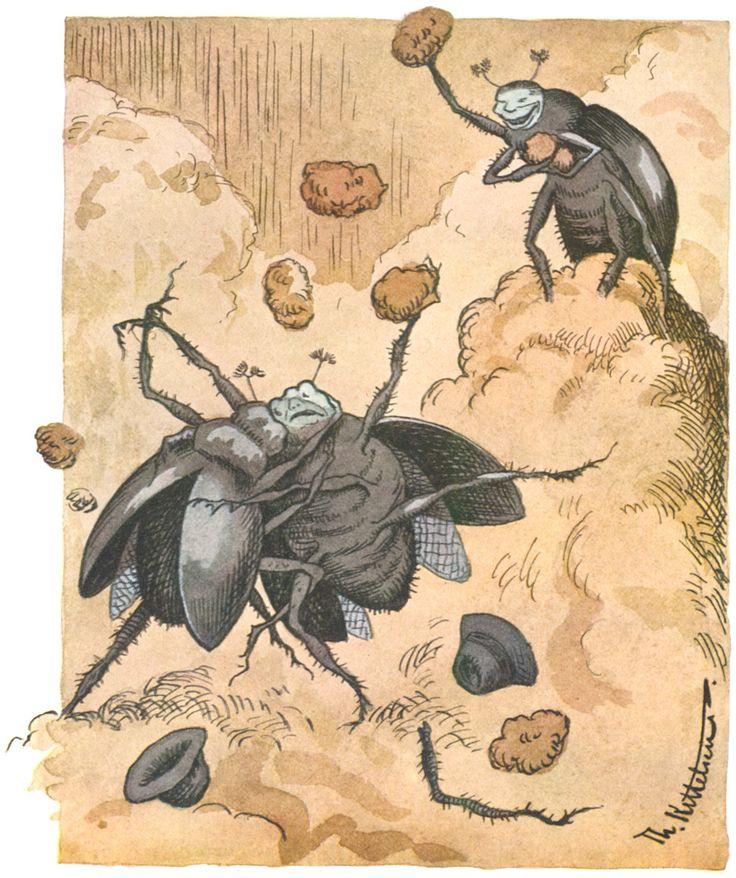 slagsmal mellem to skarnbas, Theodor Kittelsen