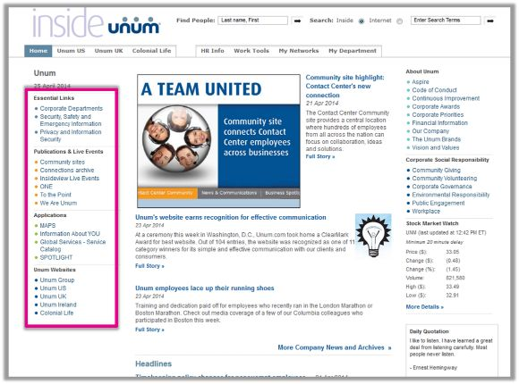 quick link ideas - Intranet Design Ideas