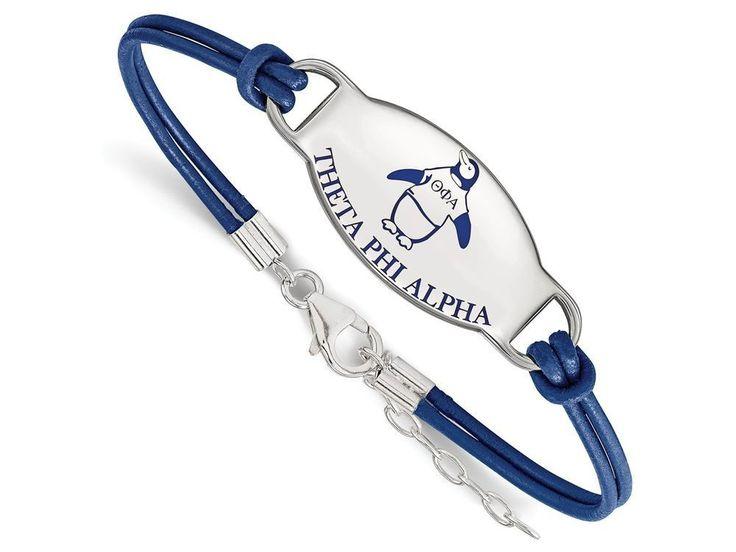 LogoArt Sterling Silver Theta Phi Alpha Enameled Leather Bracelet