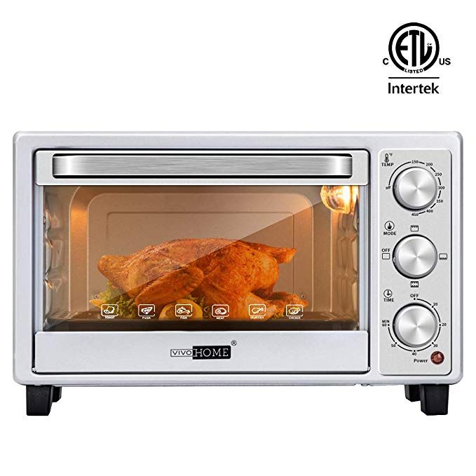 Vivohome Stainless Steel 16l 6 Slice Convection Countertop Toaster Oven Broiler With Pan Tray Review Countertop Toaster Oven Toaster Oven Oven