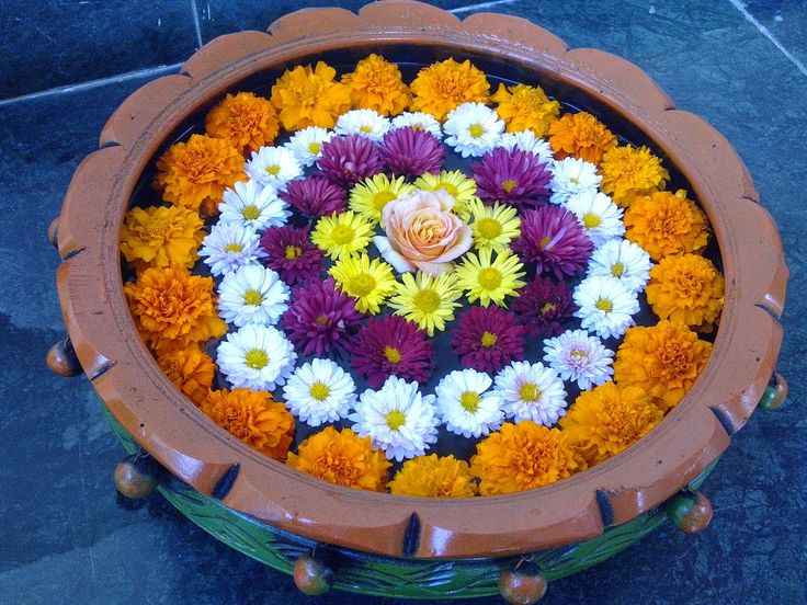 Fresh Flowers Floating Rangoli: How to make a Flower Floating Rangoli? ~ Diwali Celebrations