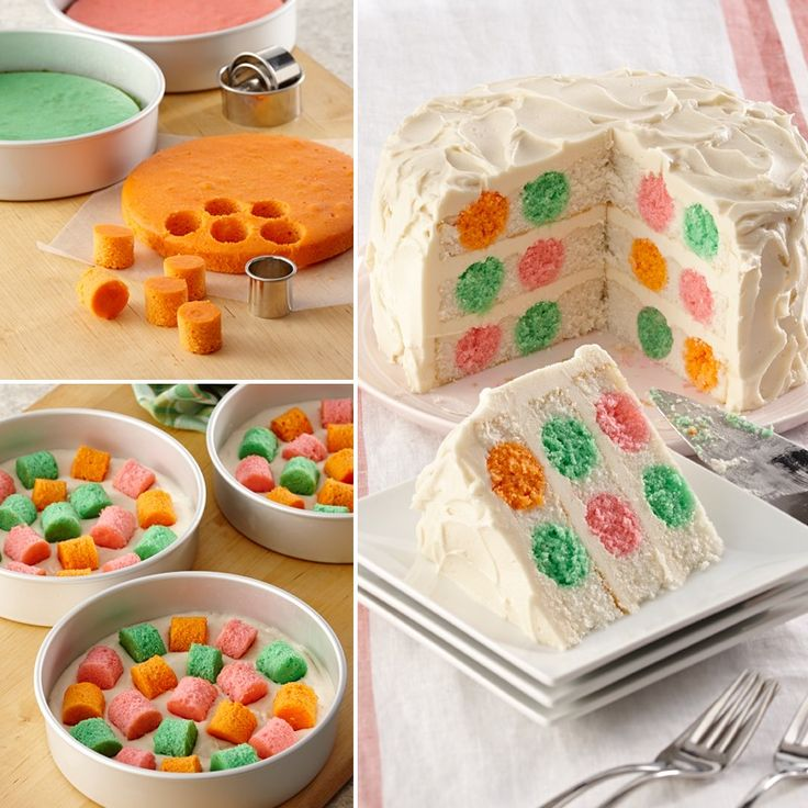 "Polka Dot Cutout Cake Your guests will be asking ""How did you get the colorful polka dots in the cake?"". The secret is to place baked multi-colored cake circle cut-outs in a white cake batter then bake the white cake layers.:"
