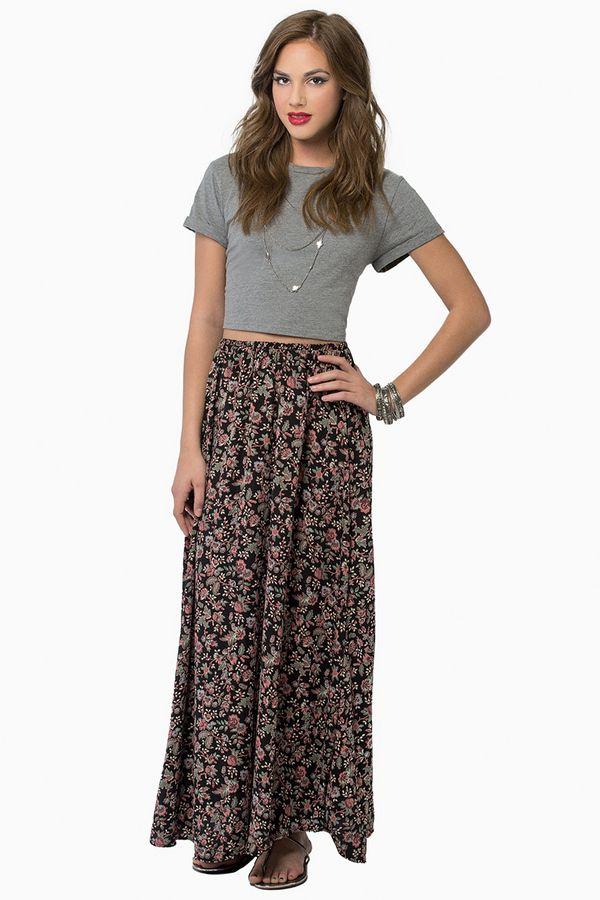 Tobi May Flowers Maxi Skirt